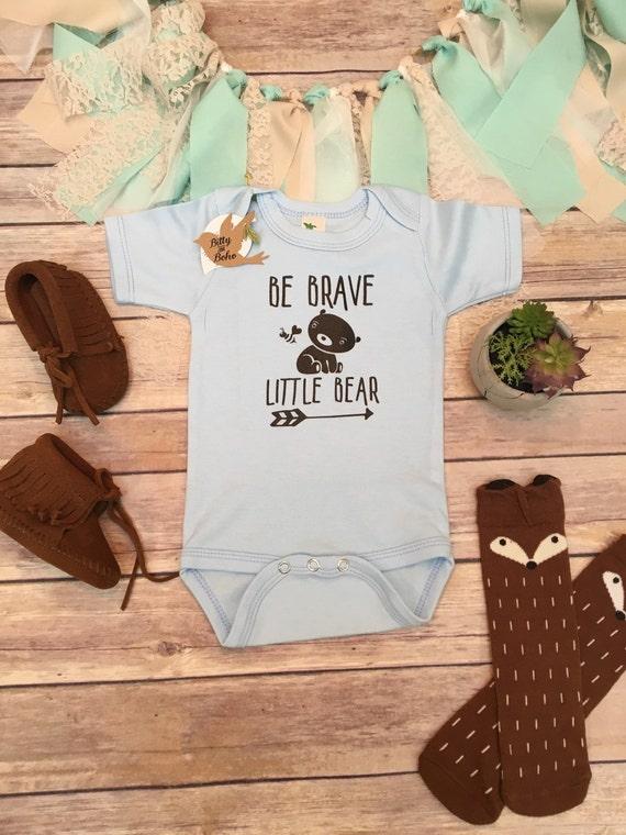 Be Brave Little Bear esie Boho Baby Clothes by BittyandBoho