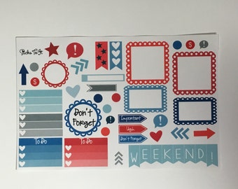 Red White Blue Build Your Own Kit Call Out Functional Erin Condren ECLP Mambi Inkwell Press Filofax Kikki K Happy Life Patriotic Stickers