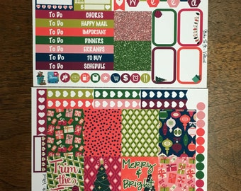 Merry and Bright Christmas Mini Weekly Set Horz and Vert Planner Stickers - Full ECLP Mambi Inkwell Press Filofax Kikki K Holiday presents