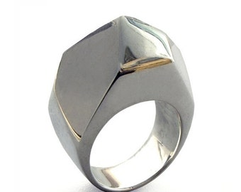 SALE 20% Off - GEM Ring, Unique Silver Ring, Large Silver Ring, Chunky Ring, Silver Statement Ring, Faceted Ring, Italian Jewelry