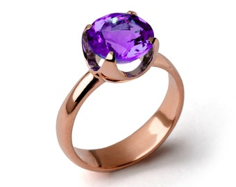CUP Amethyst Engagement Ring, Purple Amethyst Ring, Rose Gold Amethyst Ring, Amethyst Promise Ring, Large Amethyst Ring