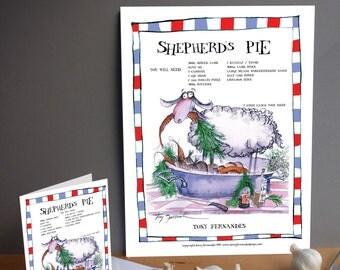Fun Shepherd's Pie Recipe Kitchen Print and greeting card