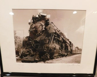 50% Off Blow Out SALE - Pair of Singed Train Photos - Framed and Matted - Black and White - Train Engine