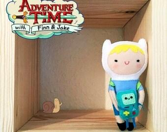 Cute Finn Felt Doll, Handmade, Felt toy, Little, Gift, Adventure Time, Finn the Human