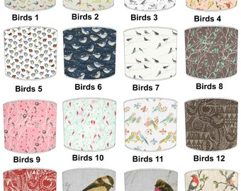 Garden Birds Lamp shades, To Fit Either a Table Lamp base or a Ceiling Light Fitting.