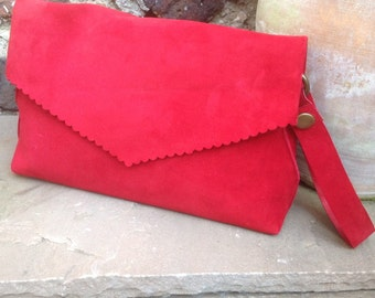 Red Suede Clutch Bag