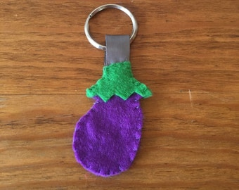 Eggplant Keychain, Felt Food Keychain, Purple Keychain, Fake Vegetable, Stocking Stuffer, Fake Food