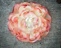 Shabby organza rose, buttercup & tangerine ombre fabric Flower. Hand-Painted fabric flower. Hair clip/brooch. Handmade in France, Provence