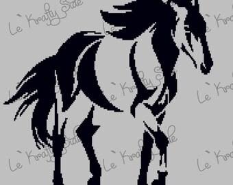 Instant Download - Mustang Horse Standard Blanket Crochet Graph Chart