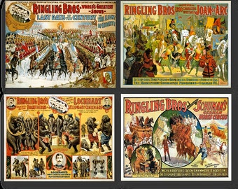 Ringling Brothers Tent Show Vintage Circus Posters Set of 4 Prints