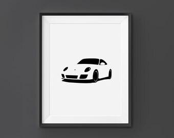 Porsche 911, Porsche Wall Art, Porsche Print, Porsche, 911, Home Decor, Digital Download, Black and White, Scandinavian Art,