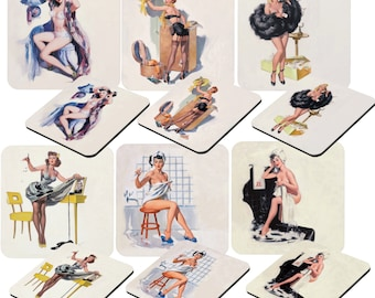 Pin-up girls, Vintage Ladies a lot ohlala, set of 6 coasters, one of each kind