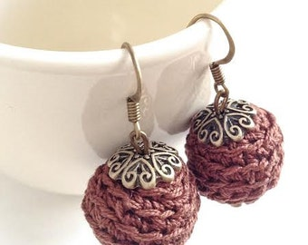 Cotton Crochet Brown Earrings / Gift for Her
