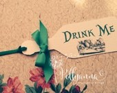 Image of 10 Bespoke Personalised Alice in Wonderland Drink Me Bottle Tags Any Colours