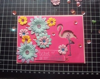 Flamingo Shaker Card - With Love On Your Birthday