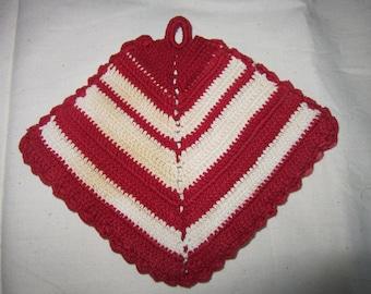 Vintage Red and White Striped Crochet Potholder circa 1950