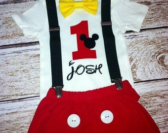 Personalized Mickey Mouse Birthday Shirt, Mickey Cake Smash, Mickey Mouse Outfit with Shirt, Shorts, Suspenders, Bow