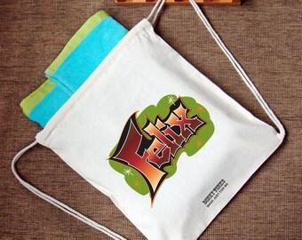 Personalised Children's Cotton Backpack P.E Kit Drawstring Bag, Custom Made Bag, Gym Bag, School Bag