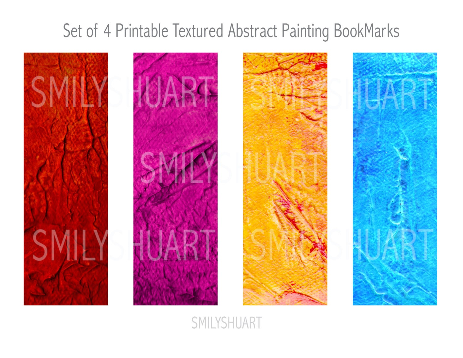 Printable Abstract Art Bookmarks Set Of 4 Instant Download