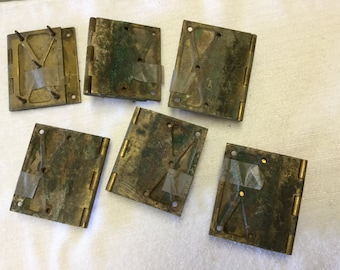 Antique brass hinges - six