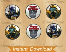 Transformers Cupcake Toppers ,Transformers Birthday Circles, Instant Download, Digital File