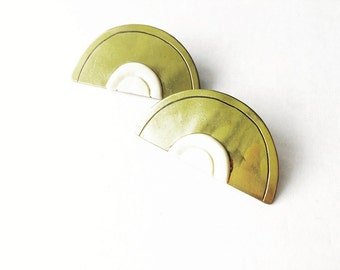 Lemon Wedge Metal Vintage Retro Clip-on Earrings