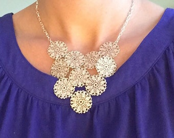 Silver bib necklace, silver statement necklace
