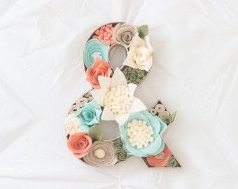 """8"""" Felt Floral Ampersand"""