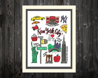New York City Drawings and Calligraphy print | Statue of Liberty, Empire State, taxis, Brooklyn Bridge, Big Apple | City icons | Hand-letter
