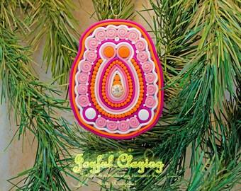 Mixed media pink/peach/orange Clay Ornament