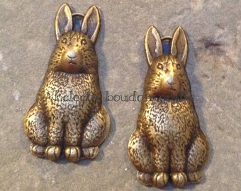 Antique bronze bunny rabbit charms x 2 pendants adorable jewellery making supplies vintage style