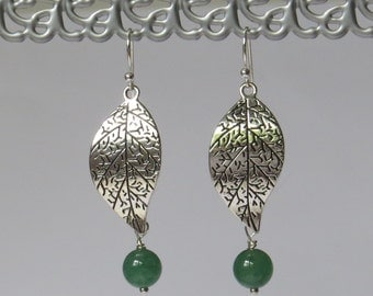 Silver leaf earrings with green natural stone beads