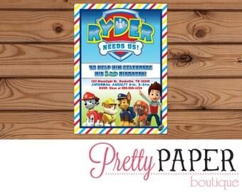 Paw Patrol Birthday Invitation - Digital or Printed