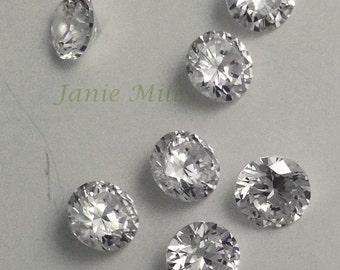 Cubic Zirconia faceted  5 mm round Clear priced as a pair