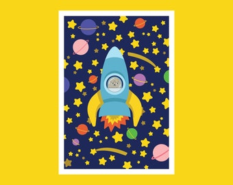 Space Launch digital print