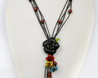 Black Leather Flower Necklace