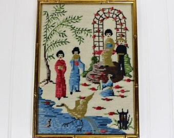 Vintage Framed Asian Needlepoint