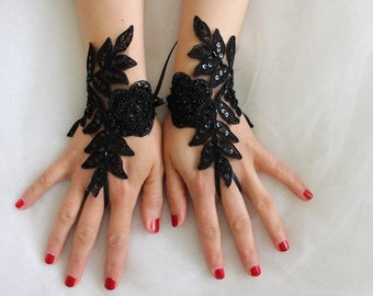 Beaded black, lace wedding gloves, costume gloves,halloween gloves, free shipping!