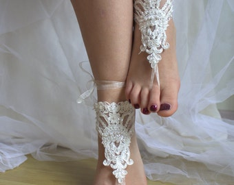 wedding shoes,summer shoes,beach shoes,foot jewelry,Beaded ivory lace wedding sandals, free shipping!
