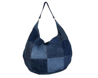 Hobo, denim, bag, jeans, patchwork, big bag, organic, eco, ecology, recycling, upcycling, denim bag, patchwork bag, hobo bag, recycling bag