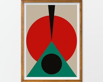 Poster Mid Century, Retro Print Poster, Geometric Art Print, Abstract Posters