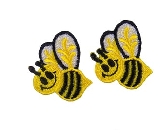 Yellow and Black Bumble Bees Embroidered Iron On Appliques