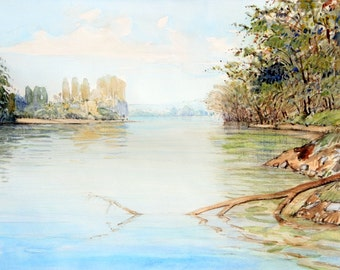 the seine near rouen (watercolor)