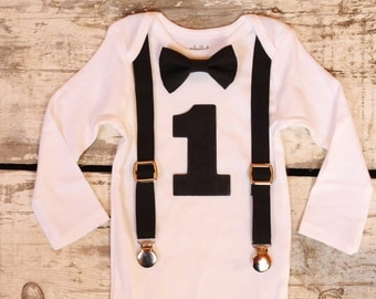 Baby Boy First Birthday Outfit| Baby Boy 1st Birthday Outfit| Smash Cake Outfit| Bowtie and Suspenders| all Black