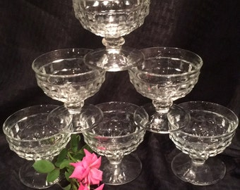 Vintage Fostoria American  Low Stemmed Dessert Sherbert  Dishes Set of 6