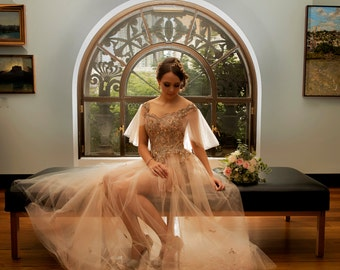 Hand made lace and tulle wedding dress. Choose your own lace and colours!
