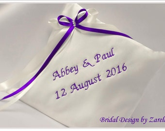 Personalised Wedding Ring Cushion, Wedding Ring Pillow, for ring bearer. White/Ivory Satin, With bow & diamantes. Other colours available.