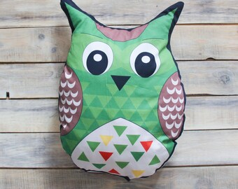 READY TO SHIP!  Green Owl  pillow toy