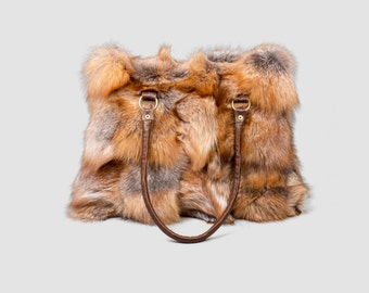 Red Fox Fur Bag, Real Fox Fur Handbag, Shoulder Bag,Clutch, Birkin, Handmade