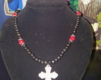 Howlite Cross Necklace w/ Roses